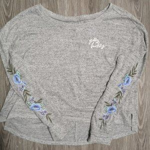 Gilly Hicks Grey Floral Embroidered Sweater Size M